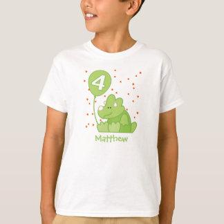 Dino Baby 4th Birthday Personalized Dinosaur T-Shirt