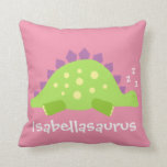 "Dino Baby Girl Stegosaurus Throw Pillow<br><div class=""desc"">A cute kids illustration of a sleepy stegosaurus. The text reads snore-a saurus. One side has a pink background, the other has lavender purple. To change the text, click on the Customize It button (or link if you&#39;re using a mobile device). These pillows are great for a girl&#39;s room, or...</div>"