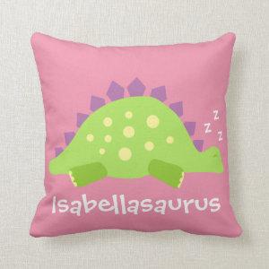 Dino Baby Girl Stegosaurus Throw Pillow
