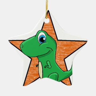 dino baby star ceramic ornament