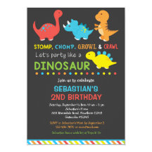 Dinosaur Birthday Invitations Announcements Zazzle