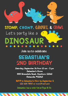 Dino Birthday Invitation Dinosaur