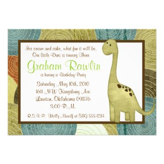 dino birthday party fun cute sweet brown green invites