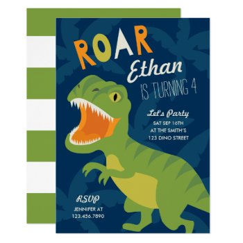 Dino Birthday Party Invite by origamiprints at Zazzle