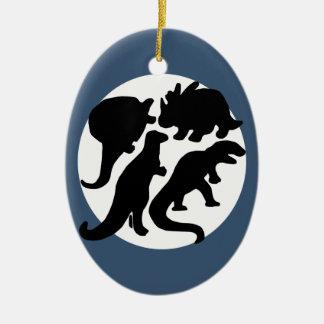 dino blue ceramic ornament