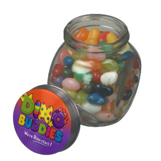 DINO-BUDDIES™ - Gummy Candy & Glass/Tin Container Jelly Belly Candy Jars