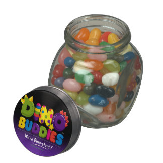 DINO-BUDDIES™ - Gummy Candy & Glass/Tin Container Glass Candy Jars