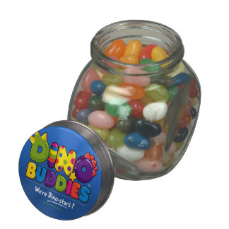 DINO-BUDDIES™ - Gummy Candy & Glass/Tin Container Jelly Belly Candy Jar
