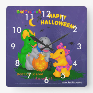 Dino-Buddies™ Square Wall Clock – Halloween Scene