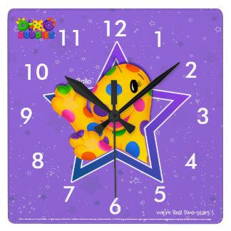 Dino-Buddies™ Square Wall Clock – Rollo™ w/Star