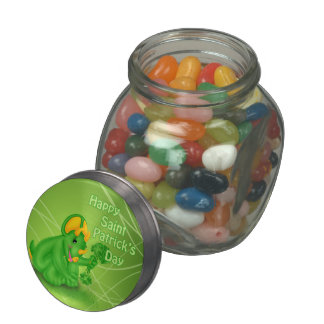 Dino-Buddies™ St. Patrick's Day Gummy Candy & Tin Jelly Belly Candy Jar