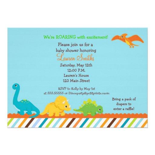 Dino Dinosaur Boys Baby Shower Invitation