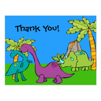 Dino Dinosaur Prehistoric Birthday Thank You Postcard