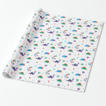 """Dino Dreidels Wrapping Paper<br><div class=""""desc"""">Take a bite out of a dreidel this year and wrap your Hannukah gifts in this cute prehistoric print.  Our dinos are mixed with Stars of David,  menorahs,  and dreidels for a fresh new kids design. www.dreideljams.com</div>"""