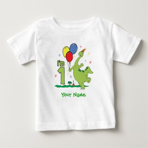 Dino First Birthday Personalized Baby T_Shirt