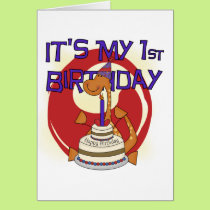 Dino First Birthday Tshirts and Gifts Card