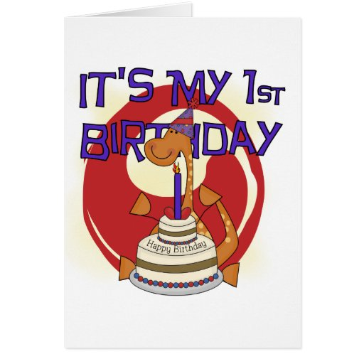 Dino First Birthday Tshirts and Gifts Greeting Cards