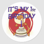 Dino First Birthday Tshirts and Gifts Round Sticker