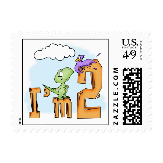 Dino Fun 2nd Birthday Postage