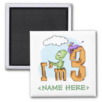Dino Fun 3rd Birthday 2 Inch Square Magnet