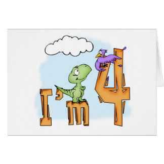 Dino Fun 4th Birthday Invitation Card
