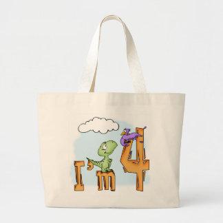 Dino Fun 4th Birthday Large Tote Bag