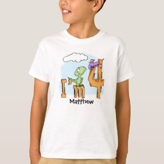 Dino Fun 4th Birthday Personalized Dinosaur T-Shirt