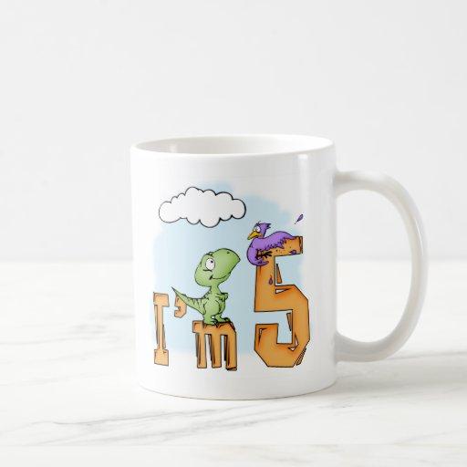 Dino Fun 5th Birthday Mugs