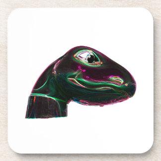 Dino Head Abstract Neon Beverage Coaster