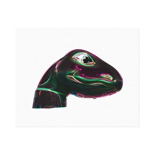 Dino Head Abstract Neon Canvas Print