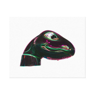 Dino Head Abstract Neon Canvas Print