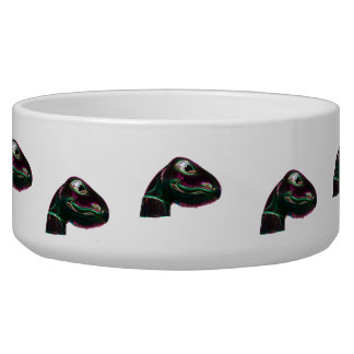 Dino Head Abstract Neon Dog Bowls