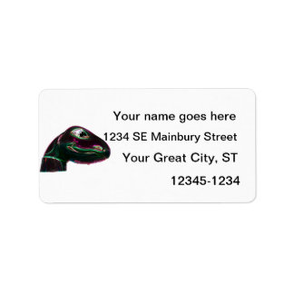 Dino Head Abstract Neon Address Label