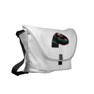 Dino Head Abstract Neon Messenger Bags