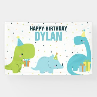 Dino Kids Birthday Party Banner