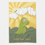 Dino lindo Trex en dibujo animado de la sol Toalla De Mano