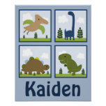 Dino/los dinosaurios adorables personalizó el póster