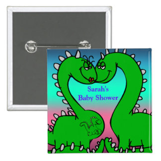 Dino Love Baby Shower 2 Inch Square Button