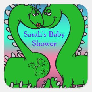 Dino Love Baby Shower Square Sticker