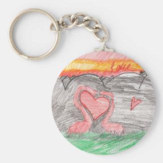 Dino Love Basic Round Button Keychain