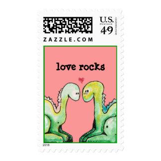 Dino Love Rocks Postage Stamps
