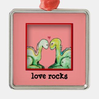 Dino Love Rocks Square Metal Christmas Ornament