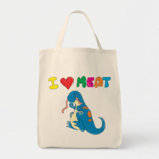Dino loves meat grocery tote