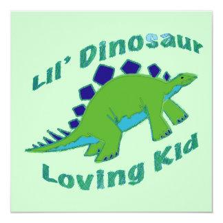 "Dino Loving Kid 5.25"" Square Invitation Card"