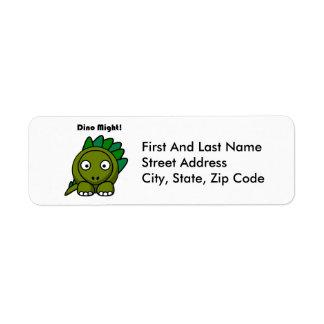 Dino Might Green Stegosaurus Cartoon Label