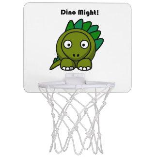 Dino Might Green Stegosaurus Cartoon Mini Basketball Backboard