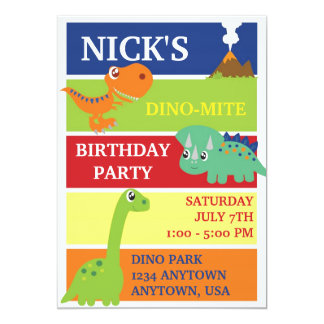 DINO-MITE DINOSAUR BIRTHDAY PARTY INVITATION
