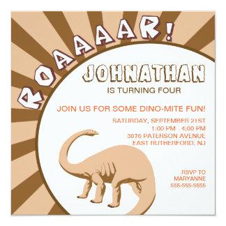 Dino-Mite Dinosaur Invitation - Brown