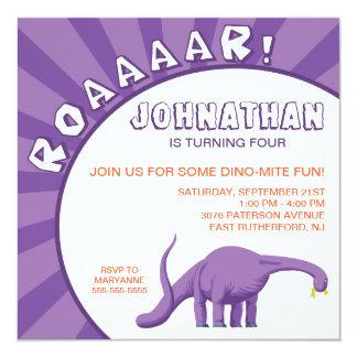 Dino-Mite Dinosaur Invitation - Purple