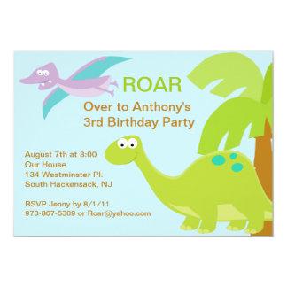 DINO-mite Green Dinosaur  Birthday Invitation